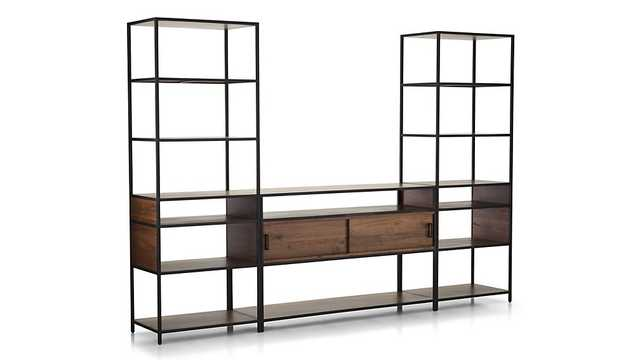 Knox Media Console with 2 Tall Open Bookcases - Crate and Barrel