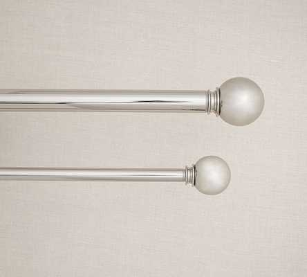 "PB Standard 1.25"" diam. Drape Rod & Wall Bracket - Medium - Polished Nickel Finish - Pottery Barn"