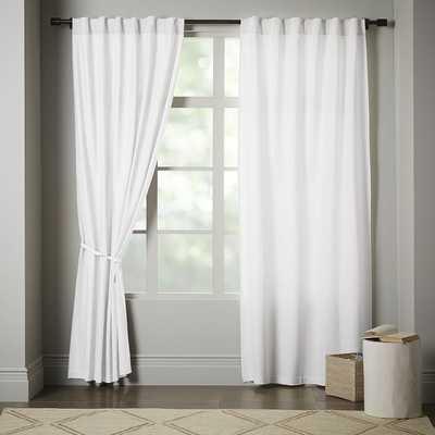 """Linen Cotton Pole Pocket Curtain + Blackout Panel - Set of 2 - White - 48""""x96"""" - West Elm"""