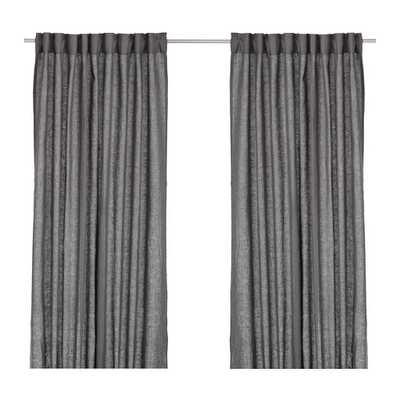 AINA Curtains, 1 pair, dark gray - Ikea