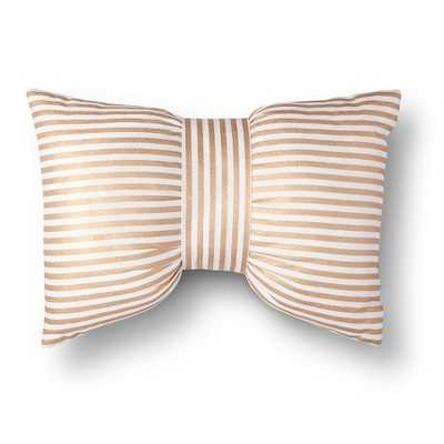 Metallic Stripe Bow Decorative Pillow - Gold/White with insert - Target