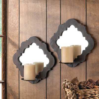 Wood Damask Mirrored Wall Sconce - Set of 2 - Wayfair