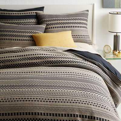 Organic Woven Dot Duvet Cover, King, Black - West Elm