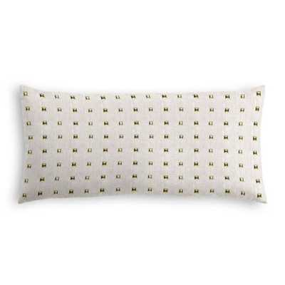 "Light Taupe Gold Studded Lumbar Pillow - Stud Muffin - Oatmeal - 12"" x 24"" - Down insert - Loom Decor"
