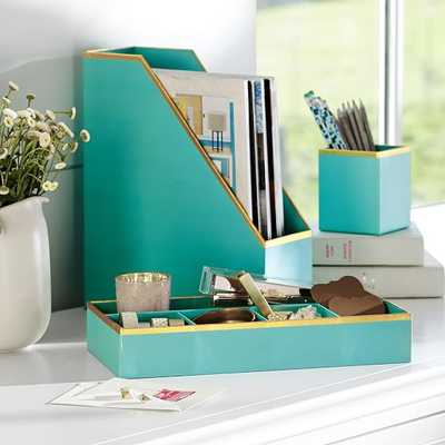 Printed Paper Desk Accessories Set- Solid Pool With Gold Trim - Pottery Barn Teen