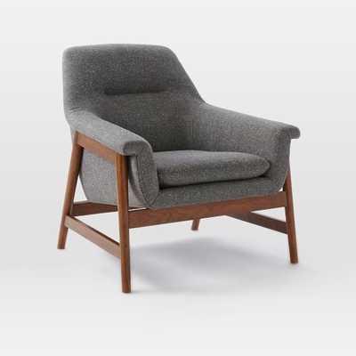 Theo Show Wood Chair - Salt + Pepper, Tweed - West Elm
