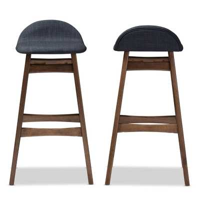 MODERN SCANDINAVIAN STYLE UPHOLSTERED BAR STOOL (set of 2) - dark blue - Lark Interiors