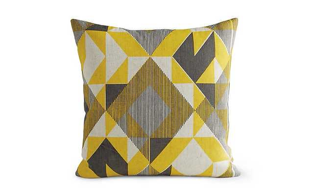 """Trigonometry Pillow - Yellow - 20""""sq. - Insert included - Design Within Reach"""