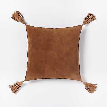 "Suede Tassel Pillow Cover, 16""x16"", Cinnamon - West Elm"
