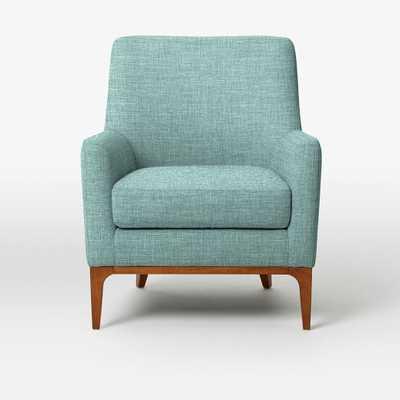 CUSTOM: Sloan Upholstered Chair - Heathered Weave, Eucalyptus - West Elm