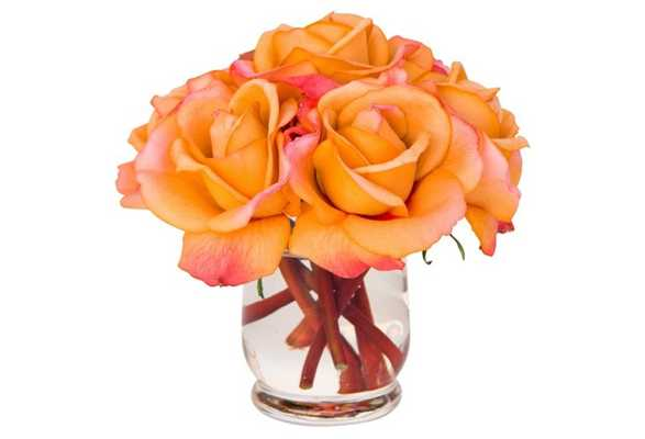 """7"""" Roses in Hourglass Vase, Faux - One Kings Lane"""