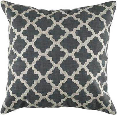 "KEYES DECORATIVE PILLOW - Charcoal/White - 18"" square - Poly Insert - Home Decorators"
