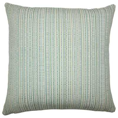 "Macall Striped Pillow Aqua Green - 18"" x 18"" - Polyester Insert - Linen & Seam"