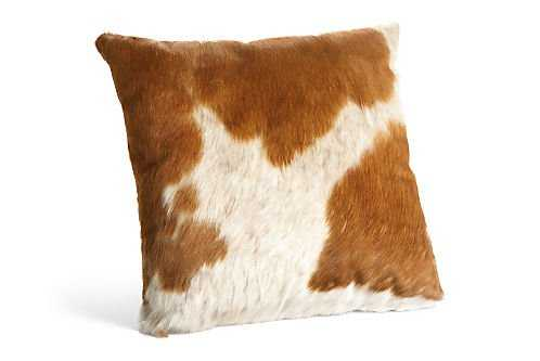 """Natural Cowhide Pillows - 21"""" x 21"""" - Polyester filler - Room & Board"""