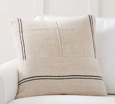 "Pieced Grainsack Pillow, 22"", Natural/Brown - Pottery Barn"
