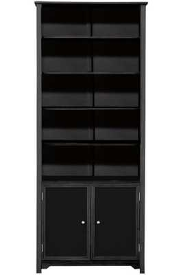 OXFORD SINGLE BOOKCASE WITH CABINET - BLACK - Home Depot