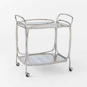 Foxed Mirror Bar Cart - West Elm