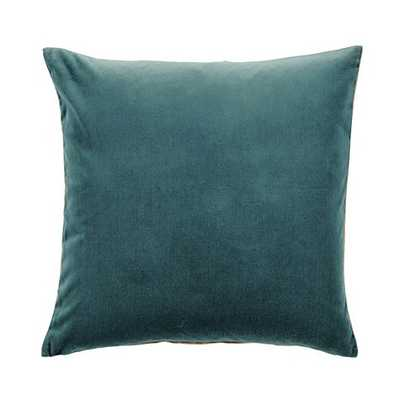 "Signature Velvet & Linen Pillow - 20"" Square - Oasis - Feather/Down Insert - Ballard Designs"