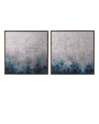 """""""Frost on Sapphire"""" Original Paintings, 2-Piece Set - 30""""Sq. - Framed without mat - Horchow"""
