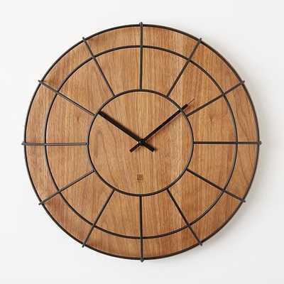 Umbra Cage Wall Clock - Dark Wood - West Elm