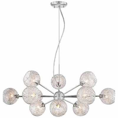 """Possini Euro Wired 32"""" Wide Glass and Chrome Chandelier - Lamps Plus"""