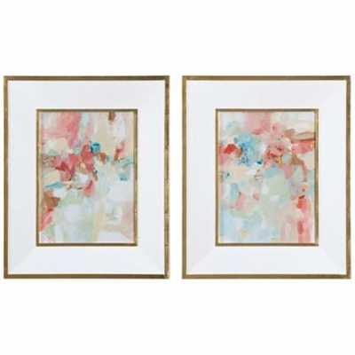 A Touch of Blush and Rosewood Fences 2-Piece Wall Art Set - Lamps Plus