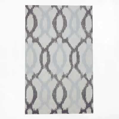 Ikat Links Wool Rug - Frost Gray - 5' x 8' - West Elm