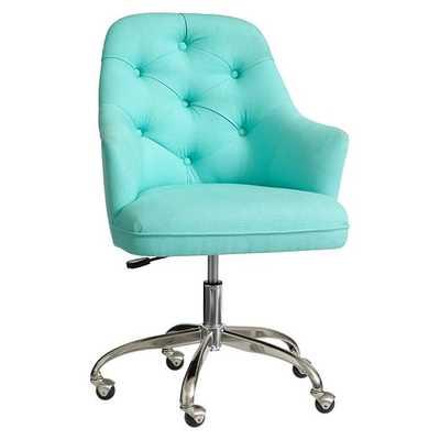 Twill Tufted Desk Chair - Pool - Pottery Barn Teen
