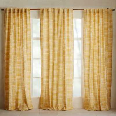 "Mid-Century Cotton Canvas Etched Grid Curtain - Horseradish - 84""L - West Elm"