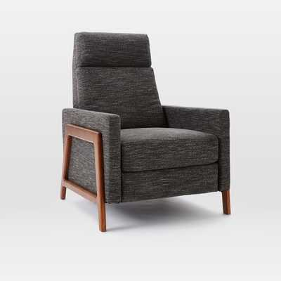CUSTOM Spencer Wood-Framed Upholstered Recliner - Heathered Tweed Charcoal - West Elm