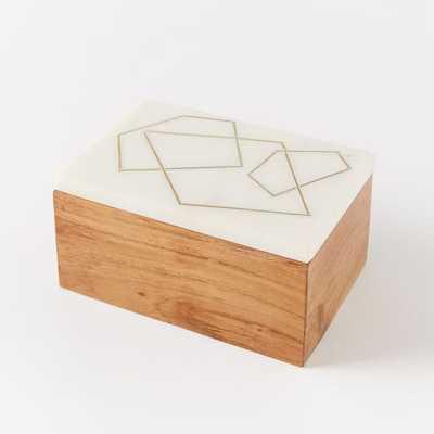 Roar + Rabbit Marble + Wood Jewelry Rectangle Box - West Elm