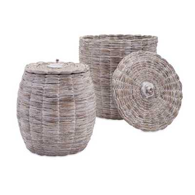 Cassiel Lidded Baskets - Set of 2 - Mercer Collection