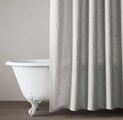 Vintage-Washed Belgian Linen Shower Curtain - Standard - Mist - RH