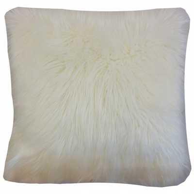 "Valeska Faux Fur Pillow Off White - 18"" x 18"" - Down Insert - Linen & Seam"