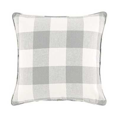 "Buffalo Check Pillow- 20"" Sq- Feather/Down Insert - Gray - Ballard Designs"