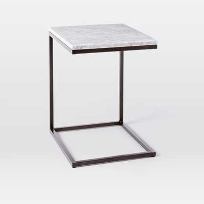 Box Frame C-Base Side Table - Marble/Antique Bronze - West Elm