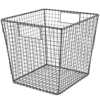 Grey Down to the Wire Cube Bin - Land of Nod