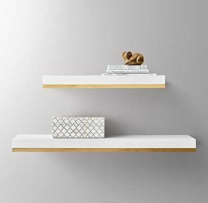 "Metal-Trimmed Floating Wood Shelf-White/brass 36"" - RH Baby & Child"