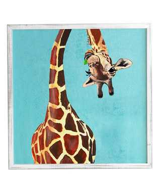 GIRAFFE WITH GREEN LEAF- 11'' x 13''- Basic silver frame with mat - Wander Print Co.