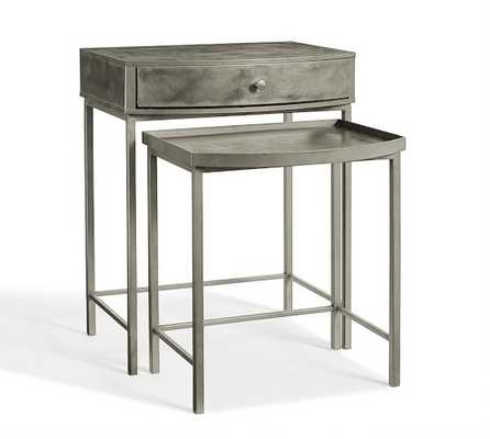 Woodrow Metal Nesting Bedside Tables, Set of 2 - Antique Nickel - Pottery Barn