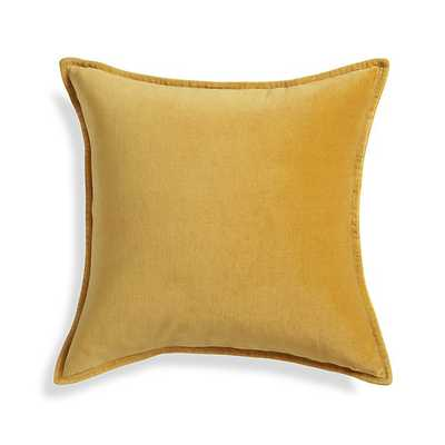 """Brenner Yellow 20"""" Velvet Pillow With Feather - Insert Included - Crate and Barrel"""