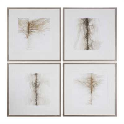 """Infared Memory, S/4 - 26"""" x 26"""" - Champagne Silver Frame with Mat - Hudsonhill Foundry"""
