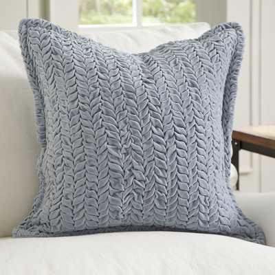 Allie Velvet Quilted Pillow Cover - Blue - No Insert - Birch Lane