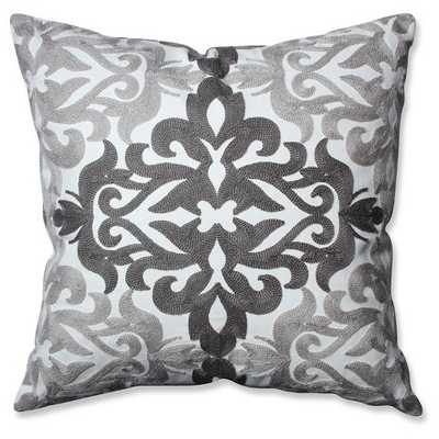 "Embroidered Grey Geometric Throw Pillow - 16.5"" x 16.5"" - Duck Feather Fill - Target"