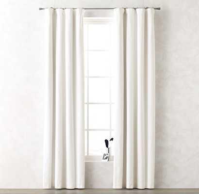 "Cotton Canvas Drapery Panel - 108""L x 50""W - Optic White - RH Teen"