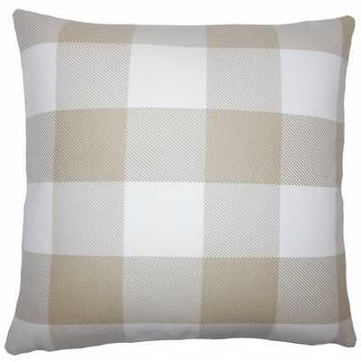 "Baker Plaid Pillow Sesame - 18"" x 18"" - Polyester Insert - Linen & Seam"