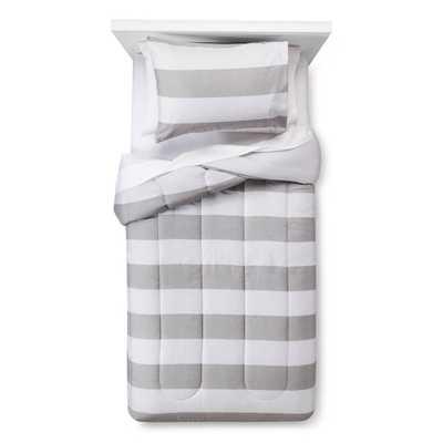 Rugby Stripe Comforter Set - Twin - Skyline Gray - Target