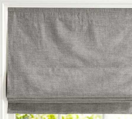 "Emery Linen/Cotton Cordless Roman Shade - 26 x 64"" - Gray - Pottery Barn"