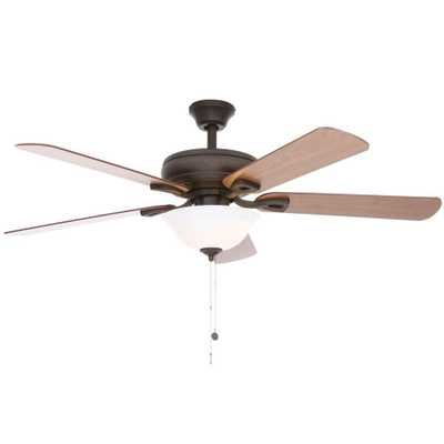 Rothley 52 in. Indoor Oil-Rubbed Bronze Ceiling Fan with Shatter Resistant Light Shade - Home Depot