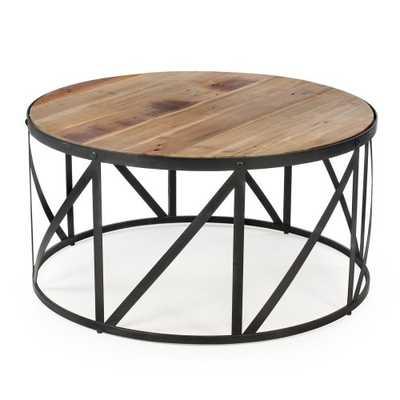 Belham Living Allen Reclaimed Wood Drum Coffee Table - Hayneedle
